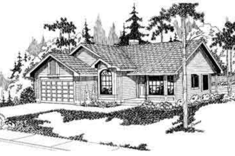 Ranch Style House Plan - 3 Beds 2 Baths 1569 Sq/Ft Plan #124-102 Exterior - Front Elevation