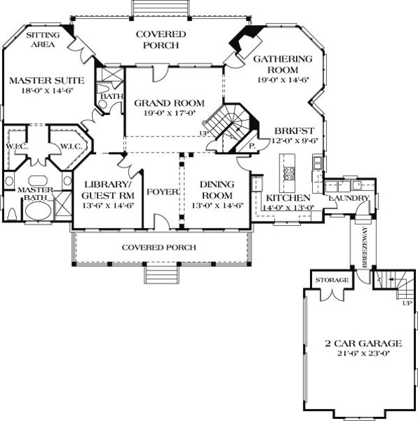 Country Floor Plan - Main Floor Plan Plan #453-13