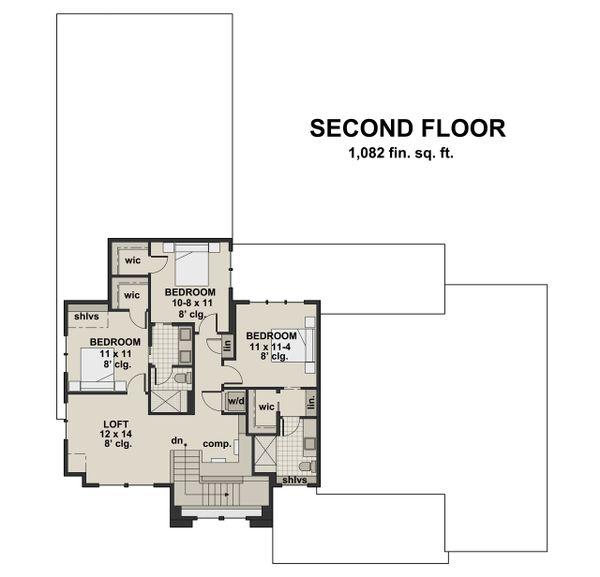 Farmhouse Floor Plan - Upper Floor Plan #51-1139