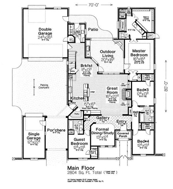 Home Plan - European Floor Plan - Main Floor Plan #310-1302