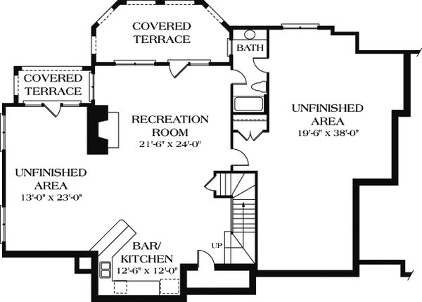European Floor Plan - Lower Floor Plan Plan #453-15