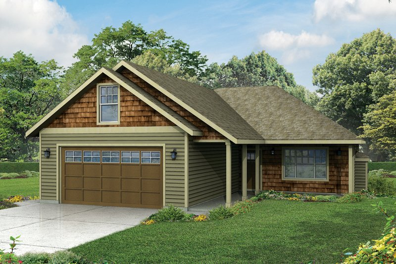 Ranch Exterior - Front Elevation Plan #124-956