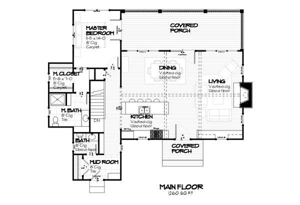 Cottage style house plan, bungalow style, main level floorplan