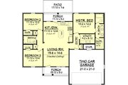 European Style House Plan - 3 Beds 2 Baths 1300 Sq/Ft Plan #430-58 Floor Plan - Main Floor Plan