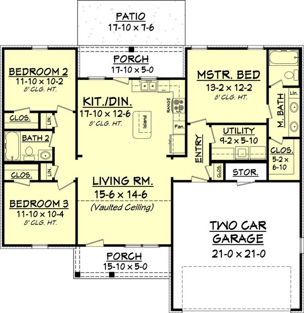 European Floor Plan - Main Floor Plan Plan #430-58
