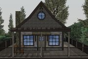 Cabin Style House Plan - 1 Beds 1 Baths 651 Sq/Ft Plan #123-115 Exterior - Rear Elevation