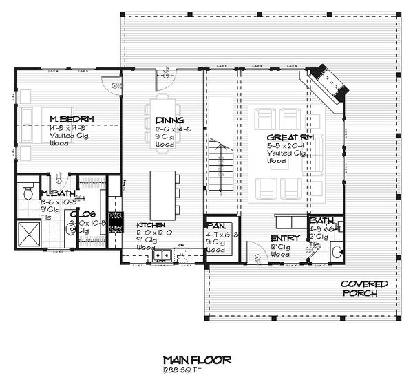 Cottage design, house plan