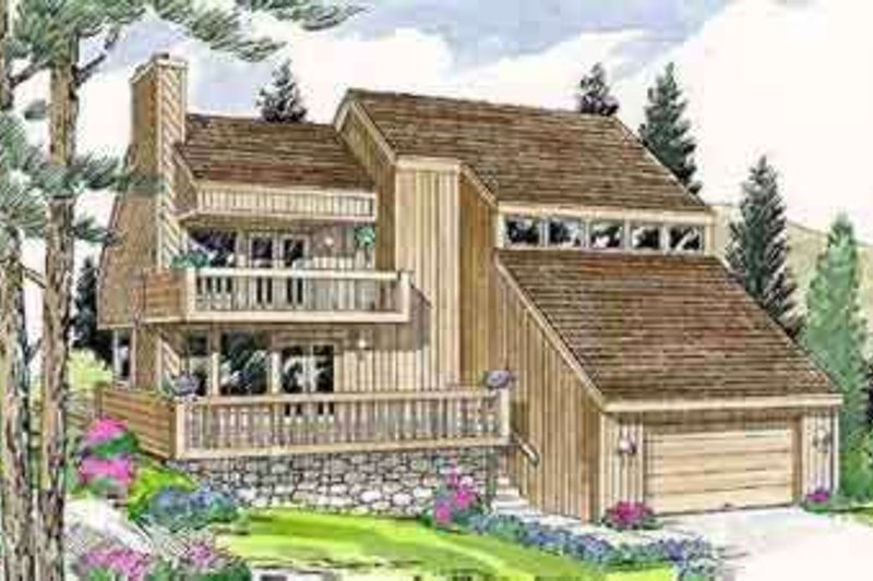 Contemporary Style House Plan - 3 Beds 2 Baths 1871 Sq/Ft Plan #116-107 Exterior - Front Elevation