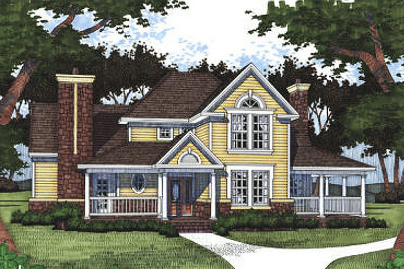Country Style House Plan - 3 Beds 3 Baths 1972 Sq/Ft Plan #120-140 Exterior - Front Elevation