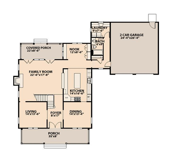 Traditional Floor Plan - Main Floor Plan Plan #515-15