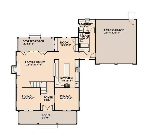 Traditional Floor Plan - Main Floor Plan Plan #515-15