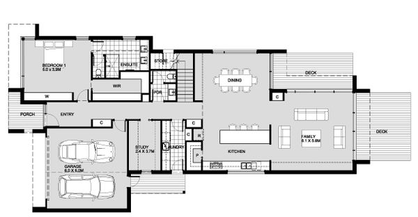 Modern Floor Plan - Main Floor Plan Plan #496-26