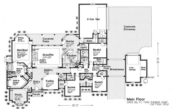 European Floor Plan - Main Floor Plan Plan #310-230