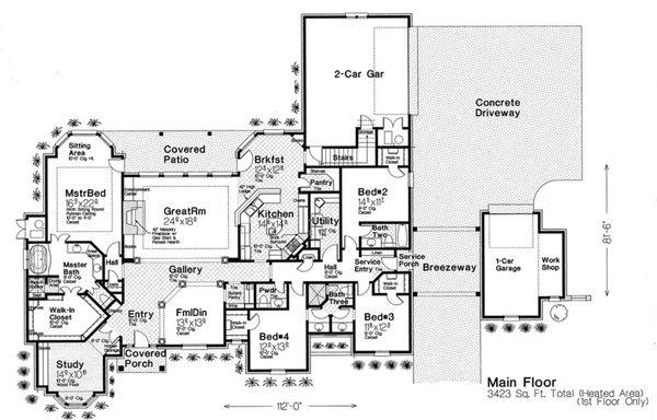 House Design - European Floor Plan - Main Floor Plan #310-230