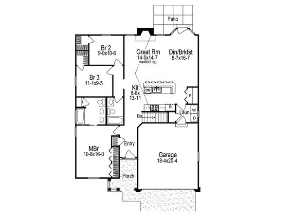 Dream House Plan - Craftsman Floor Plan - Main Floor Plan #57-671
