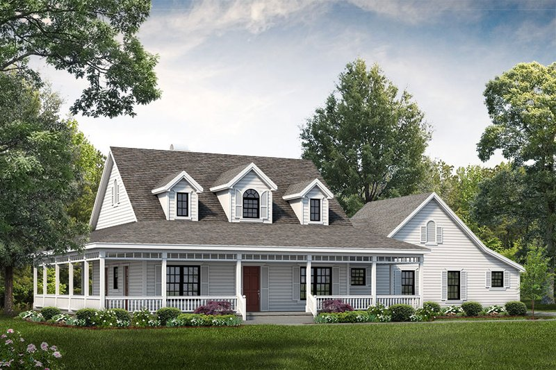 Farmhouse Style House Plan - 3 Beds 2.5 Baths 2090 Sq/Ft Plan #72-132 Exterior - Front Elevation