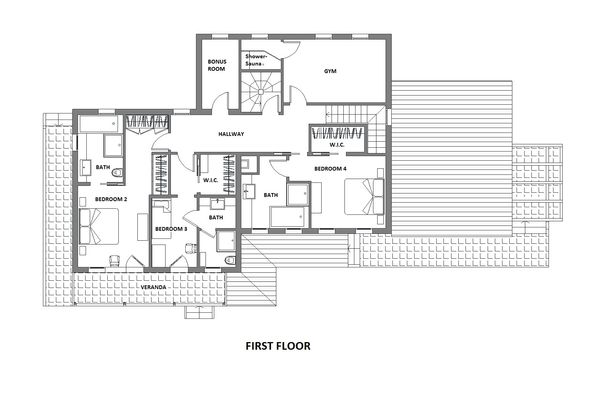 Farmhouse Floor Plan - Upper Floor Plan Plan #542-10