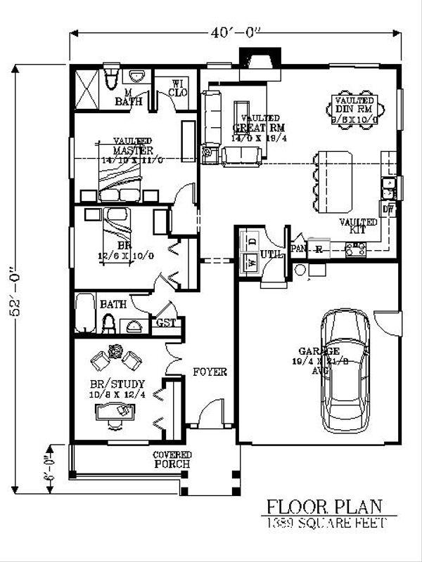 Bungalow Floor Plan - Main Floor Plan Plan #53-435