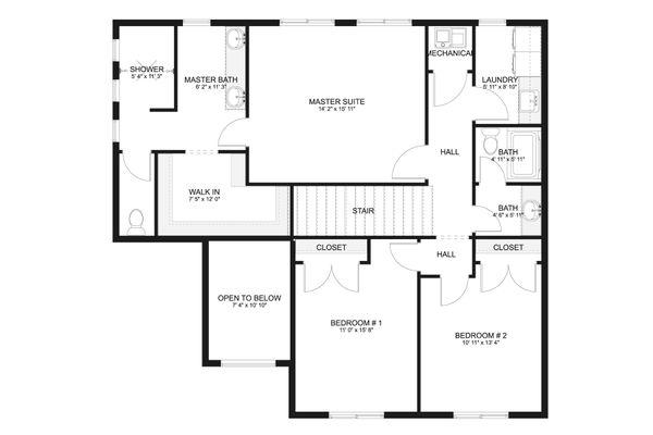 Craftsman Floor Plan - Upper Floor Plan #1060-65
