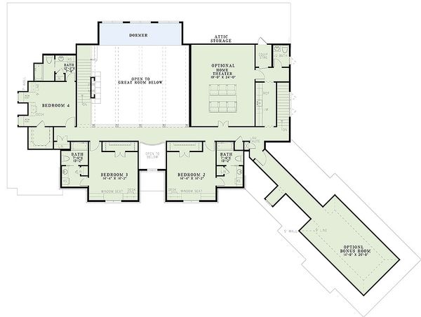 European Floor Plan - Upper Floor Plan Plan #17-2437