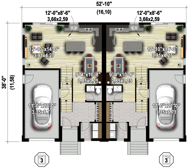 Contemporary Floor Plan - Main Floor Plan Plan #25-4611
