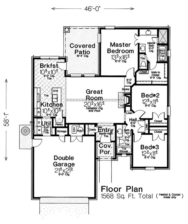 European Floor Plan - Main Floor Plan Plan #310-1285
