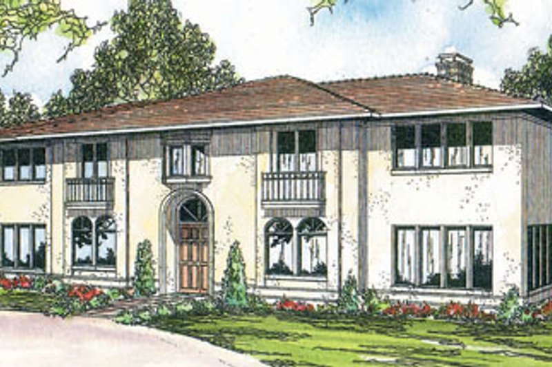 Mediterranean Exterior - Front Elevation Plan #124-292