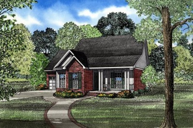 Traditional Style House Plan - 3 Beds 2 Baths 1289 Sq/Ft Plan #17-198 Exterior - Front Elevation