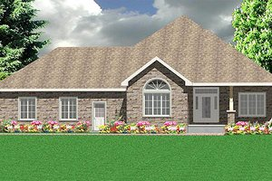 Southern Exterior - Front Elevation Plan #414-136
