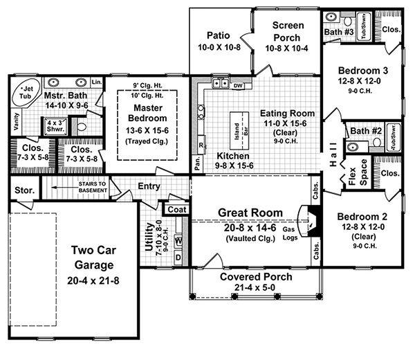Colonial Floor Plan - Main Floor Plan Plan #21-187