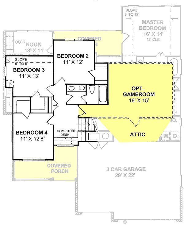 Traditional Floor Plan - Upper Floor Plan Plan #20-1356