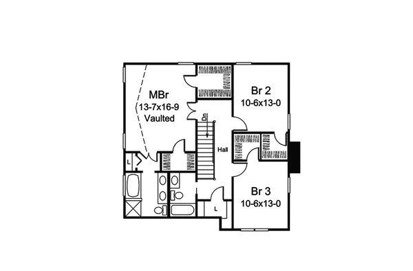 Traditional Floor Plan - Upper Floor Plan #57-693