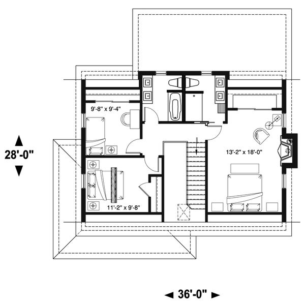 Country Floor Plan - Upper Floor Plan #23-2670