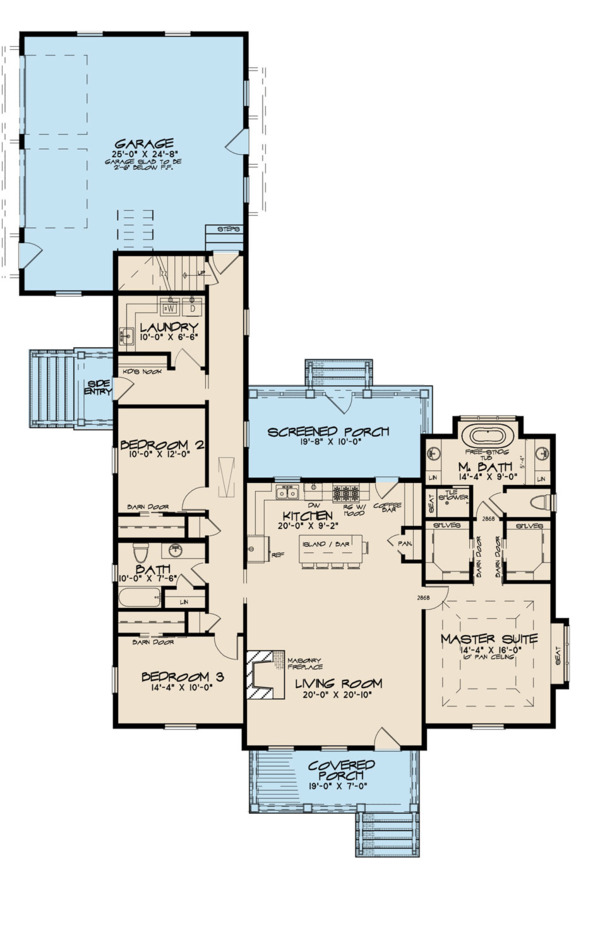 Farmhouse Floor Plan - Main Floor Plan Plan #923-116