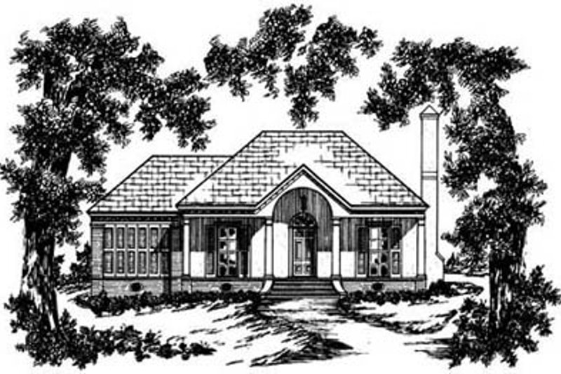 Southern Exterior - Front Elevation Plan #36-104