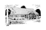 Country Style House Plan - 4 Beds 2.5 Baths 2546 Sq/Ft Plan #20-168 Exterior - Rear Elevation