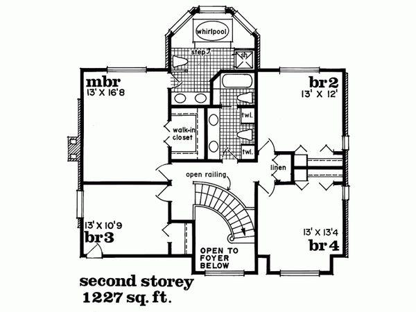 Traditional Floor Plan - Upper Floor Plan Plan #47-633