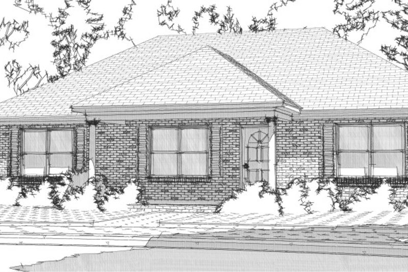 Ranch Style House Plan - 3 Beds 2 Baths 1437 Sq/Ft Plan #63-363 Exterior - Front Elevation