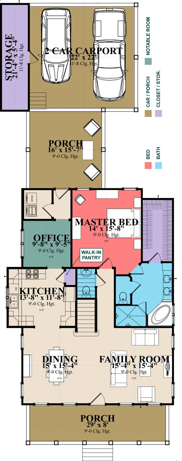 Farmhouse Style House Plan - 4 Beds 3 Baths 2639 Sq/Ft Plan #63-373 Floor Plan - Main Floor Plan