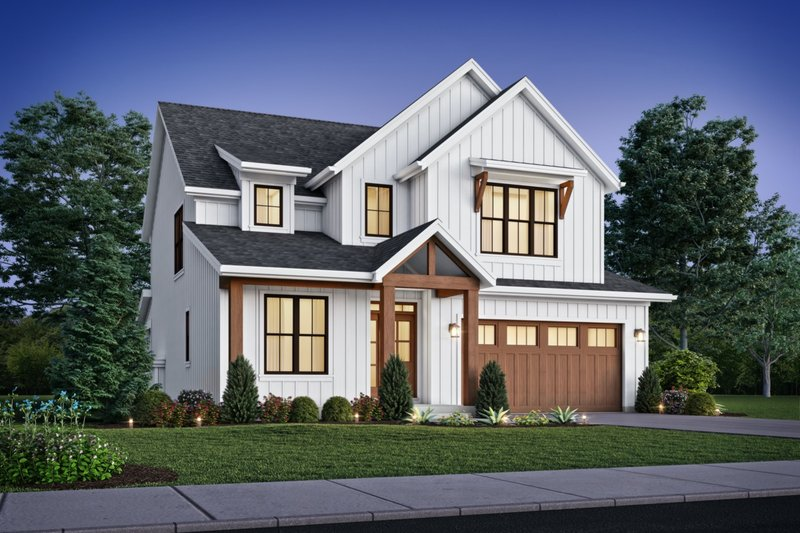 Contemporary Style House Plan - 4 Beds 2.5 Baths 2577 Sq/Ft Plan #48-1035 Exterior - Front Elevation