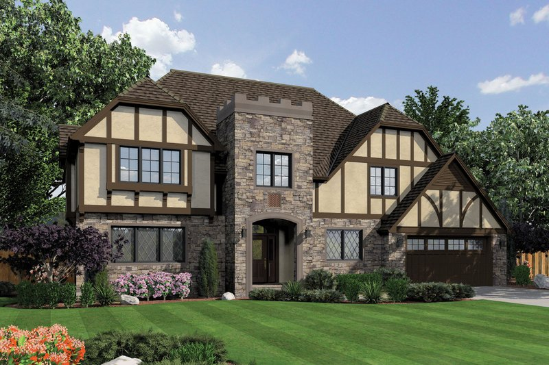 Tudor Style House Plan - 3 Beds 3.5 Baths 3560 Sq/Ft Plan #48-664 Exterior - Front Elevation