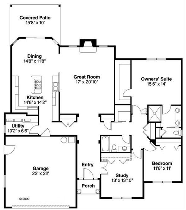 Traditional Floor Plan - Main Floor Plan Plan #124-764