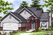 Traditional Style House Plan - 3 Beds 2.5 Baths 1406 Sq/Ft Plan #70-112 Exterior - Front Elevation