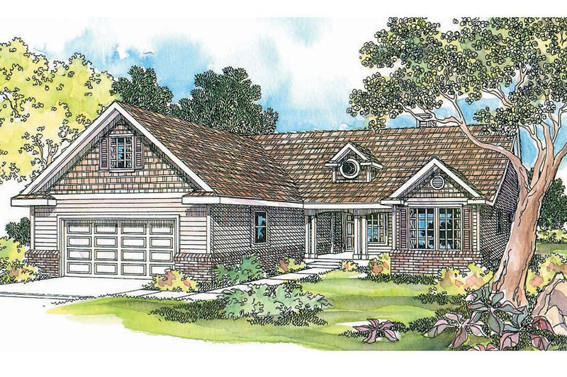 Ranch Exterior - Front Elevation Plan #124-1150