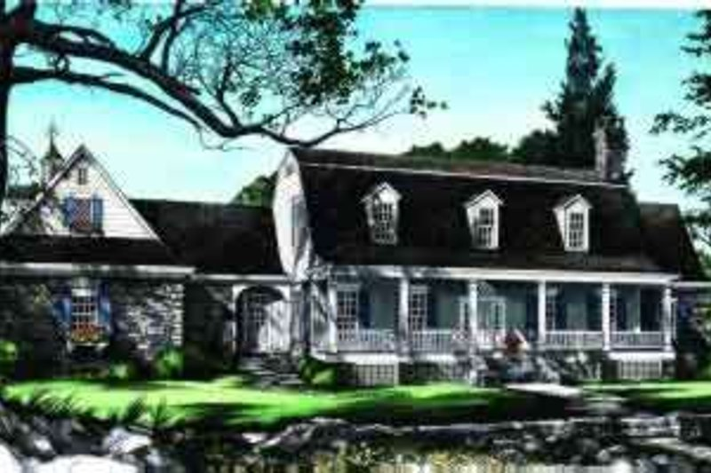 Colonial Style House Plan - 4 Beds 5.5 Baths 4299 Sq/Ft Plan #137-219 Exterior - Front Elevation