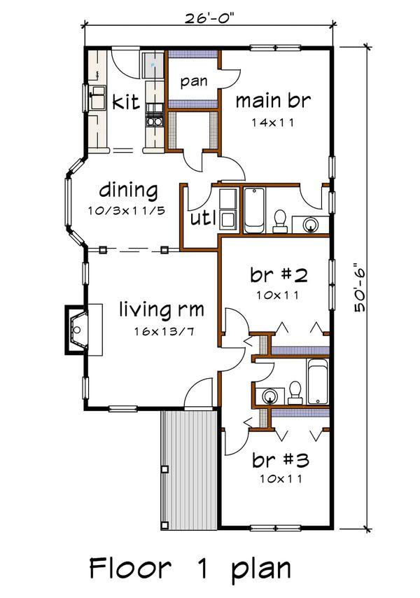 House Plan Design - Cottage Floor Plan - Main Floor Plan #79-135