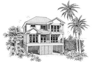 Architectural House Design - Beach Exterior - Front Elevation Plan #37-150