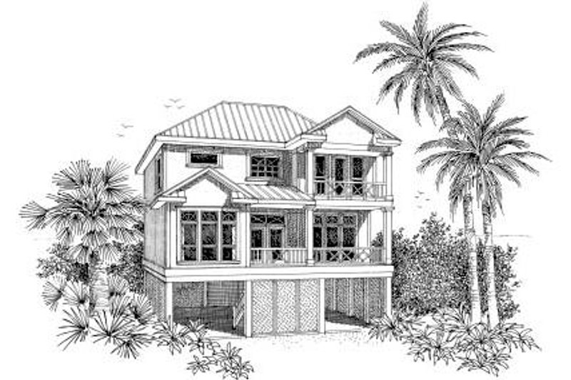 Beach Style House Plan - 3 Beds 3 Baths 1743 Sq/Ft Plan #37-150 Exterior - Front Elevation