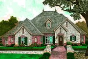 European Style House Plan - 5 Beds 4.5 Baths 2859 Sq/Ft Plan #310-1292 Exterior - Front Elevation