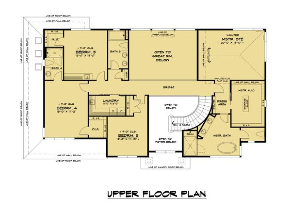Contemporary Floor Plan - Upper Floor Plan #1066-128